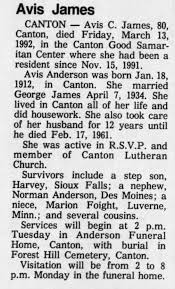 Obit for Avis Anderson James - Newspapers.com