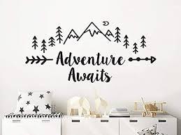 Amazon Com Adventure Awaits Wall Decal Mountains Nursery Vinyl Sticker Woodland Pine Tree Kids Room Decor Adventure Awaits Above Crib Decal C814 Handmade