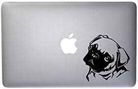 Amazon Com Cute Little Pug Puppy Vinyl Decal For Macbook Laptop Or Other Device 5 Inch Black Computers Accessories