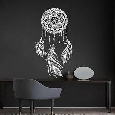 Dream Catcher Wall Decal Boho Dreamcatcher Art Feather Decor Etsy