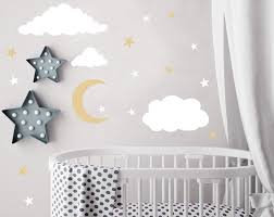 Amazon Com Easu Clouds Sky Wall Vinyl Wall Decals Moon And Stars Wall Decal Kids Baby Room Decoration Good Night Nursery Wall Decor