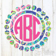 Lilly Circle Dot Monogram Decal Sew Southern Designs