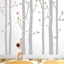 Hot Huge White Tree Wall Stickers Set Of 7 Birch Trees With Birds In 3 2 Colors Baby Nursery Wall Decals Living Room Decor Za320 White Tree Room Decorationtree Wall Aliexpress