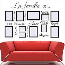 Amazon Com Bidsu Wall Decal Quote Words Lettering Decor Sticker Wall Vinyl Spanish Quote Wall Decal La Familia Es Personalized Wall Sticekr For Living Room Family Display Wall Home Kitchen