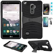 Amazon.com: Phone Case for LG Stylo-2-V (Verizon Wireless) Tempered Glass  Screen Protector with Heavy Duty Armor Cover Stand (Armor Black Skin-Black  Stand/Temple Glass)