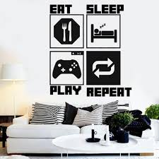 X Box Video Game Controller Wall Decal Eat Sleep Game Ps4 Gamer Sticker Home Decor For Kids Bedroom Vinyl Wall Art Decals Tree Decals For Walls Cheap Tree Sticker For Wall From