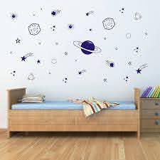 Amazon Com Planet Wall Decal Boys Room Decor Outer Space Wall Decals Star Wall Stickers Vinyl Wall Decals For Children Baby Kids Boys Bedroom Nursery Decor Y04 Blue Home Kitchen