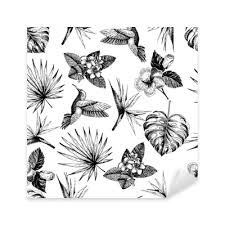 Vecotr Hand Drawn Seamless Pattern Tropical Plants Exotic Engraved Leaves And Flowers Monstera Livistona Palm Leaves Bird Of Paradise Plumeria Hibiscus Hummingbird Sticker Pixers We Live To Change