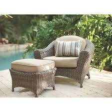 Martha Stewart Living Lake Adela Weathered Gray 2-Piece All-Weather Wicker  Patio Lounge Chair and Ottoman Set with Sand Cushions | Shop Your Way:  Online Shopping & Earn Points on Tools, Appliances, Electronics