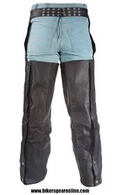 black leather riding chap pants braided