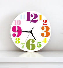 Big Numbers Colorful Modern Kids Bedroom Handmade Graphic Design Wall Clock Colorful Wall Clocks Kids Wall Clock Wall Clock Design