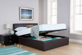 brown faux leather ottoman bed frame by gfw