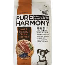 pure harmony dog food beef brown