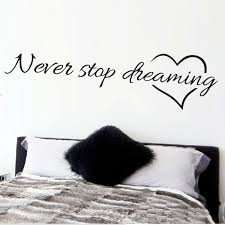 1x Never Stop Dreaming Quote Wall Paper Decal Pvc Sticker Kids Room Home Decor Ebay