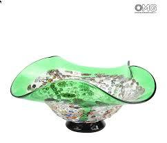 murano glass drop bowl murrine green