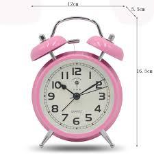 Amazon Com Clockzhji Retro 4 5 Twin Bell Alarm Clock Silent Night Light Student Children S Bedside Clock Small Pink Clock Home Kitchen