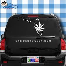 Florida Marijuana Pot Leaf Vinyl Car Decal Sticker Graphic
