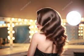 long curly hair back side view