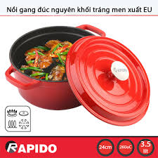 Nồi gang đúc tráng men chống dính Rapido 24cm dùng bếp từ - Bảo hành chính  hãng 12 tháng - 665,000