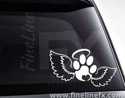 Dog Paw Print On Angel Wings Pet Memorial Vinyl Decal Sticker