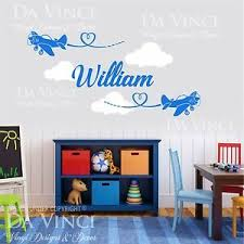 Airplane Aircraft Planes Wall Custom Name Vinyl Wall Decal Sticker Room Nursery Ebay
