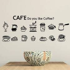 Coffee Shop Wall Decal Cafes Milk Tea Bakey Cake Wall Art Sticker Decal Diy Home Decoration Mural Decor Coffee Glass Sticker Wall Decor Art Wall Stickervinyl Wall Decals Aliexpress