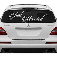 Amazon Com Slaf Ltd 28 X 10 Just Married Vinyl Car Decal Design Wedding Cling Banner Decoration Quote Sticker Decals Back Car Window Mirror Free Random Decal Gift Home Kitchen