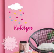 Custom Name With Heart Rain Name Wall Decal Nursery Decal Etsy
