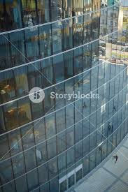 high angle view of modern glass office