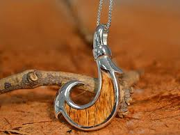 koa wood fish hook pendant sterling