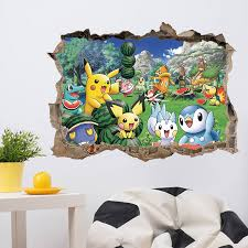 Pokemon Pikachu Wall Stickers For Baby Kids Rooms Wall Art Decals Decor Pikachu 3d Through Wall Stickers 03