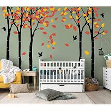 Amazon Com Luckkyy Large Five Family Trees With Birds And Birdcage Tree Wall Decal Tree Wall Sticker Kids Room Nursery Bedroom Living Room Decoration 103 9x70 9 Black Orange Baby