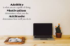 Ability Motivation Attitude Motivational Wall Quote Lettering School Office