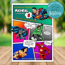 Editable Calling All Dc Comic Birthday Invitation Diy Bobotemp