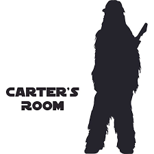 Chewbacca Star Wars Cartoon Character Design Customized Wall Art Vinyl Decal Custom Vinyl Wall Art Personalized Name Baby Girls Bedroom Decal Room Wall Sticker Decoration Size 8x10 Inch