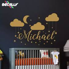 Name Wall Decal Baby Nursery Wall Decal Boy Name For Son S Nursery Vinyl Decal Clouds Wall Decor Moon Stickers Decal Star Wall Stickers Aliexpress
