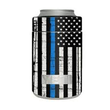 Itsaskin Skin Decal For Yeti Colster Can Tumbler Thin Blue Line Police Lives U S Flag