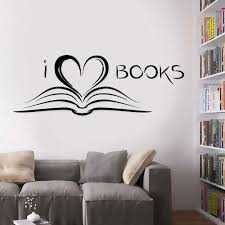 Amazon Com Laxis Book Wall Decal I Love Books Bookworm Library Literature Wall Sticker Vinyl Decal Reading Room Removable Self Adhesive Wallpaper Mural Home Kitchen