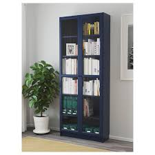 BILLY Bookcase with glass doors - dark blue - IKEA | Bookcase with ...