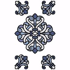 Nh2425 Blue Medici Stained Glass Window Decals By Inhome