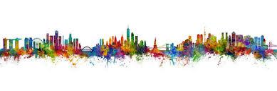 Singapore New York Tokyo Skyline Mashup Art Print By Michael Tompsett