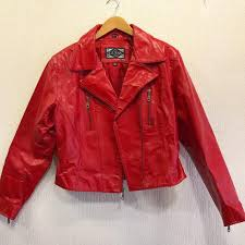 leather biker jacket by guess size l uk