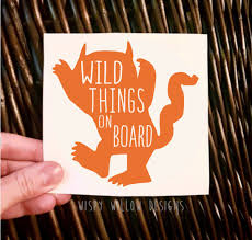 Wild Things On Board Vinyl Decal Sticker Car Decal Mom Decal Where The Wild Things Are Kids Kid Monster Vinyl Decals Vinyl Decal Stickers Window Stickers