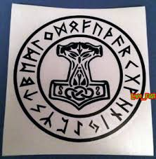 Thors Hammer Vinyl Decal Sticker Mjolnir Asatru Tyr Viking Rune Odin Norse Runes Ebay