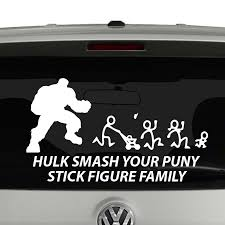 Hulk Smash Your Puny Stick Figure Family Vinyl Decal Sticker Car