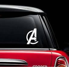 White Avengers Logo Car Sticker Marvel Avengers Inspired Etsy
