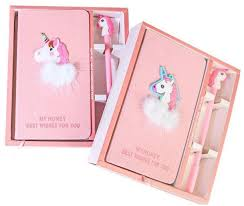 pink unicorn notepad gift box