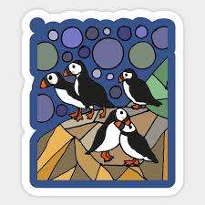 Cool Puffin Birds On Rocks Abstract Art Puffin Sticker Teepublic