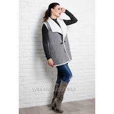 Stylish vest on sheepskin Adele gray