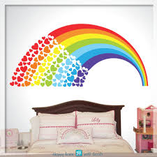 Rainbow Wall Decal For Bedroom With Name Unicorn Sticker Art Uk Removable Pastel Dot Vamosrayos